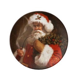 Papá Noel y su placa de Porcelin del vintage del Platos De Cerámica
