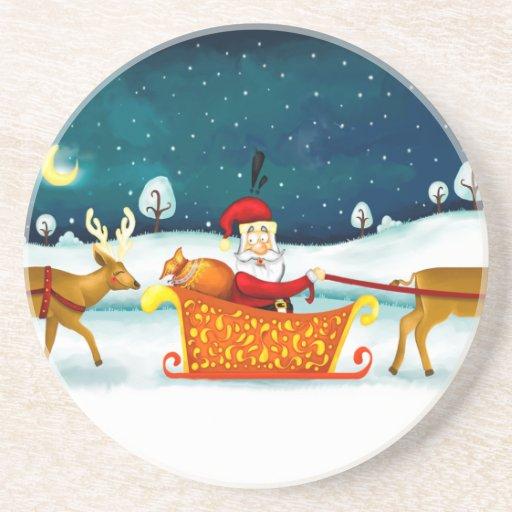 Papá Noel y su práctico de costa de los ciervos Posavasos Diseño