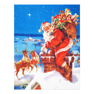 Papá Noel y su reno para arriba en el tejado Membrete Personalizado