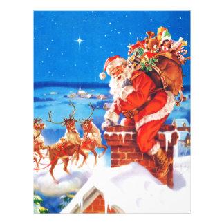 Papá Noel y su reno para arriba en el tejado Plantilla De Membrete