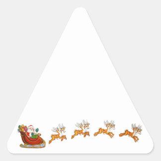 Papá Noel y su reno Pegatina Triangular