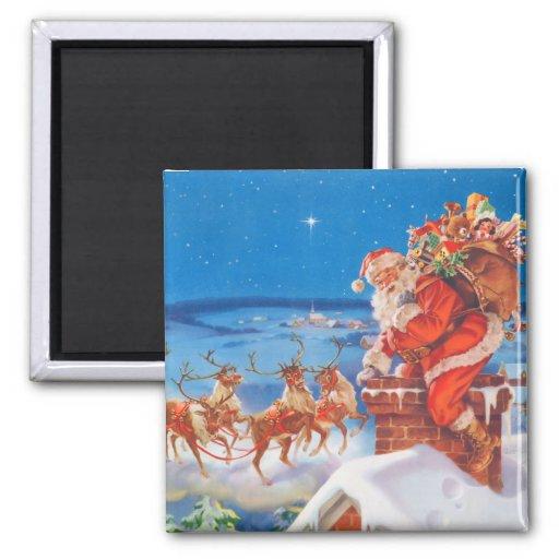 Papá Noel y su reno poderoso Imán Para Frigorífico