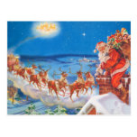 Papá Noel y su reno poderoso Tarjeta Postal