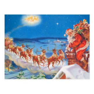 Papá Noel y su reno poderoso Postal