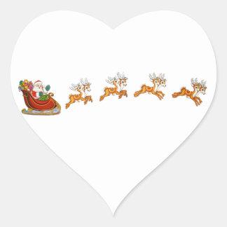 Papá Noel y su reno Calcomanías De Corazones
