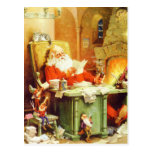Papá Noel y sus duendes comprueban su lista Tarjeta Postal