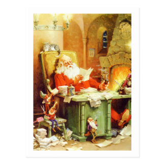 Papá Noel y sus duendes comprueban su lista Tarjetas Postales
