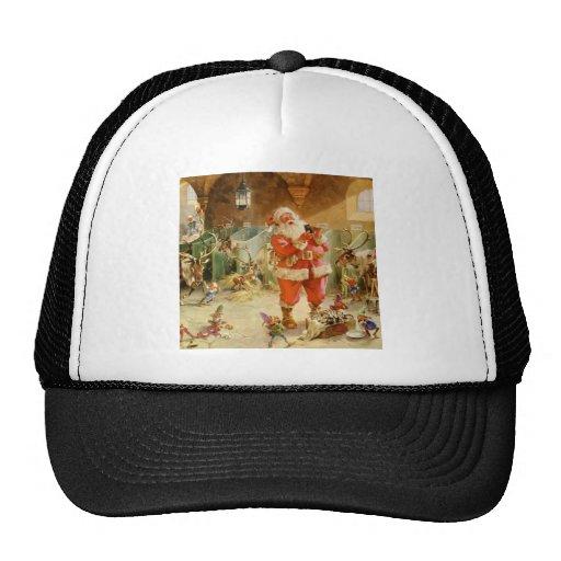 Papá Noel y sus duendes en el establo del reno Gorras