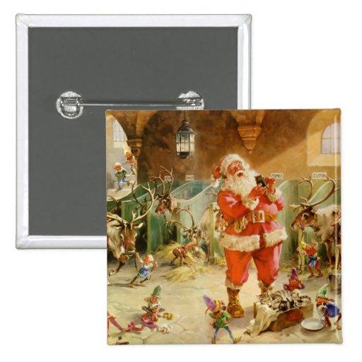 Papá Noel y sus duendes en el establo del reno Pins