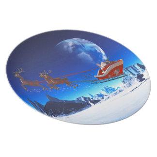 Papá Noel y sus renos 1 Plato De Comida