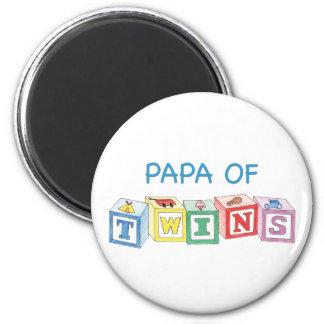 Papa  of Twins Blocks 2 Inch Round Magnet