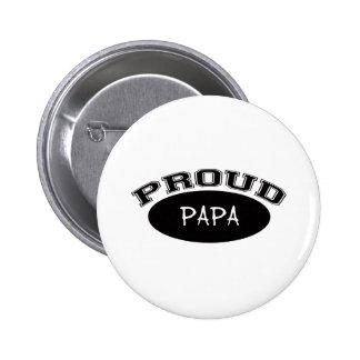 Papá orgullosa (negro) pin redondo de 2 pulgadas