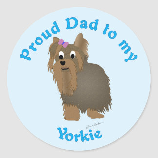 Papá orgulloso a mi Yorkie Pegatina Redonda