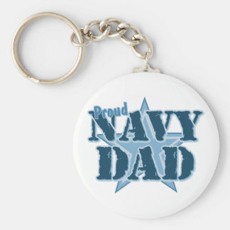Papá orgulloso de la marina de guerra llavero redondo tipo pin