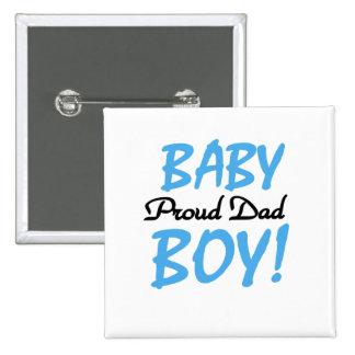 Papá orgulloso de las camisetas y de los regalos d pin cuadrado