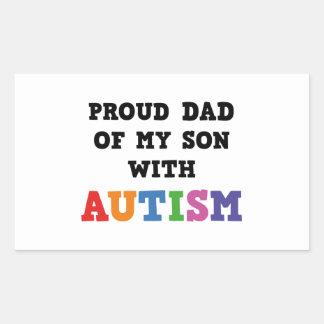 Papá orgulloso de mi hijo con autismo pegatina rectangular