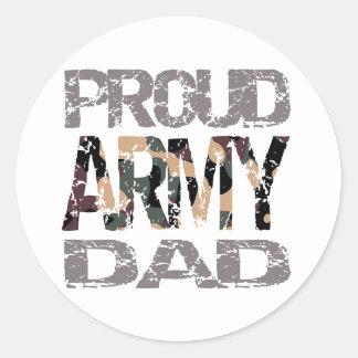 Papá orgulloso del ejército pegatina redonda