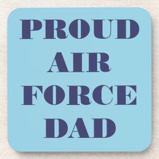 Papá orgulloso determinado de la fuerza aérea del  posavasos