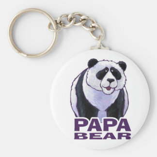 Papa Panda Bear Basic Round Button Keychain