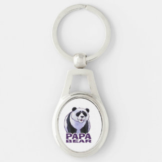 Papa Panda Bear Silver-Colored Oval Metal Keychain