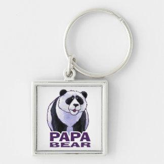 Papa Panda Bear Silver-Colored Square Keychain