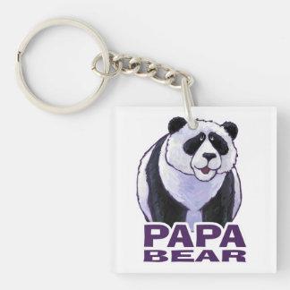 Papa Panda Bear Single-Sided Square Acrylic Keychain