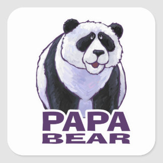Papa Panda Bear Square Sticker