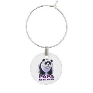 Papa Panda Bear Wine Glass Charm