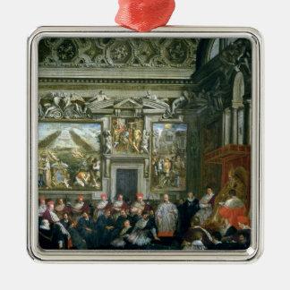 Papa Paulo V con una audiencia, 1620 Adorno Navideño Cuadrado De Metal