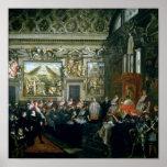 Papa Paulo V con una audiencia, 1620 Póster