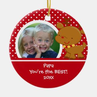 Papa Photo Reindeer Christmas Ornament