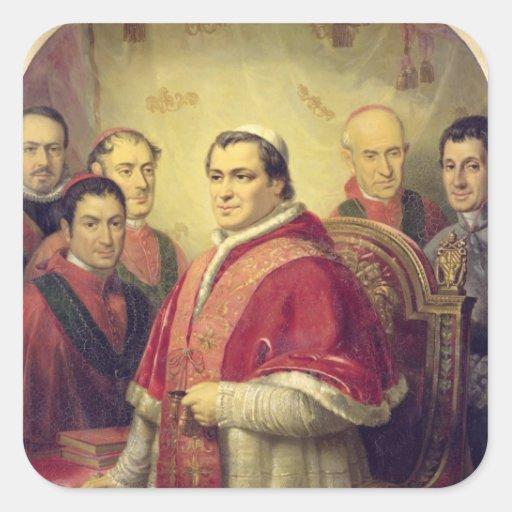 Papa Pío IX 1847 Calcomania Cuadradas Personalizada