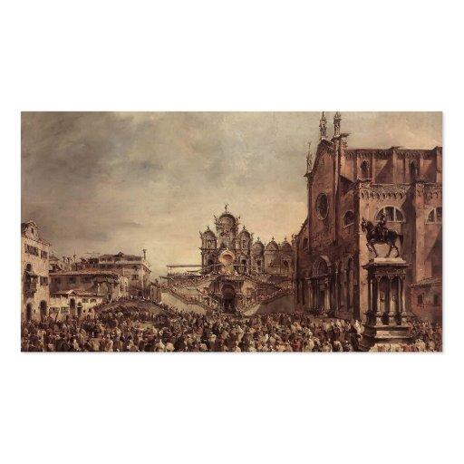 Papa Pío VI de Francisco Guardi- que bendice a la  Plantilla De Tarjeta De Visita