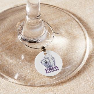 Papa Polar Bear Wine Glass Charm