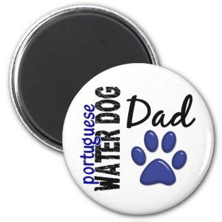 Papá portugués 2 del perro de agua imán redondo 5 cm