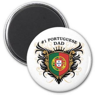 Papá portugués del número uno imán redondo 5 cm