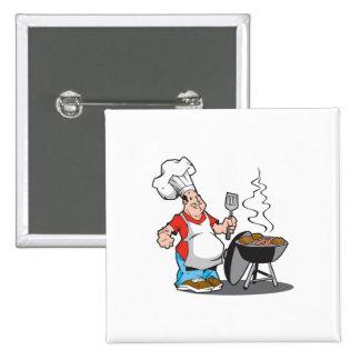 papá que cocina en la parrilla pin cuadrada 5 cm