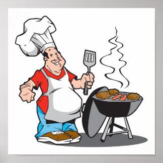 papá que cocina en la parrilla póster