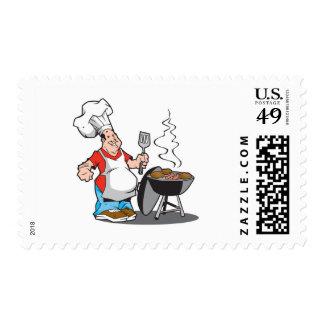 papá que cocina en la parrilla sellos