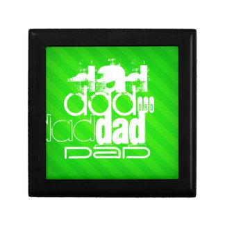 Papá; Rayas verdes de neón Caja De Recuerdo