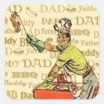 Papá retro del Bbq Pegatina Cuadrada
