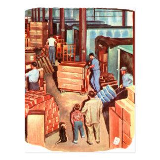Papá retro del encargado de fábrica de los años 50 tarjeta postal
