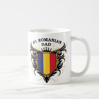 Papá rumano del número uno taza básica blanca