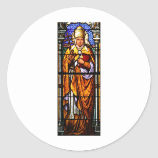 Papa Saint Gregory el grande - vitral Etiqueta Redonda