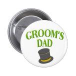 papá - sombrero de copa del novio pins