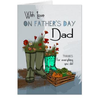 Papá, tarjeta de felicitación del día de padre con