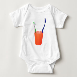 Papa toothbrush and little toothbrush baby bodysuit