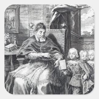 Papa Urbano VIII con sus sobrinos Calcomanías Cuadradass Personalizadas