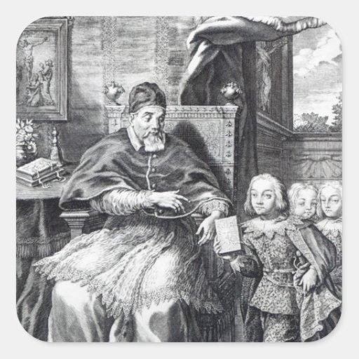 Papa Urbano VIII con sus sobrinos Pegatina Cuadrada