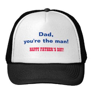 Papá, usted es el hombre. ¡El día de padre feliz! Gorros